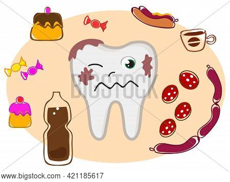 Tooth Decay: Bad Food For Dental Care. Vector Illustration