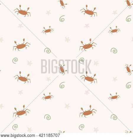 Children Sea Pattern With Crabs And Stars On A Peach Background