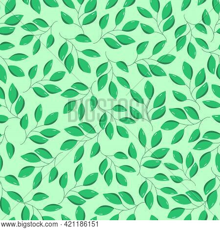 Seamless Pattern Of Green Leaves Of A Deciduous Tree. Vector Illustration Of Shrub Branches, Natural