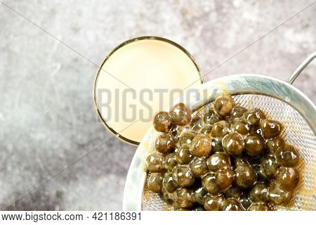 Selective Focus Of Homemade Tapioca Ball Or Pearl Tea To Be Poured In Drink For Pearl Milk Tea