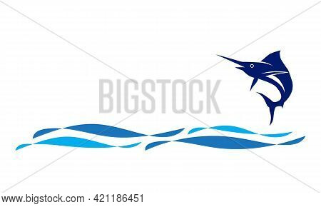 Vector Of Swordfish Jump Logo With Wave In The Ocean Template