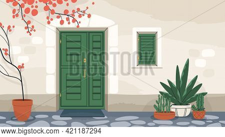 House Exterior With Front Door And Window With Closed Shutters. Home Wall With Doorway, Mat, And Pot