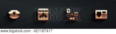 Set Police Cap With Cockade, Evidence Bag Gun, Marker Of Crime Scene And Badge Case Icon With Long S