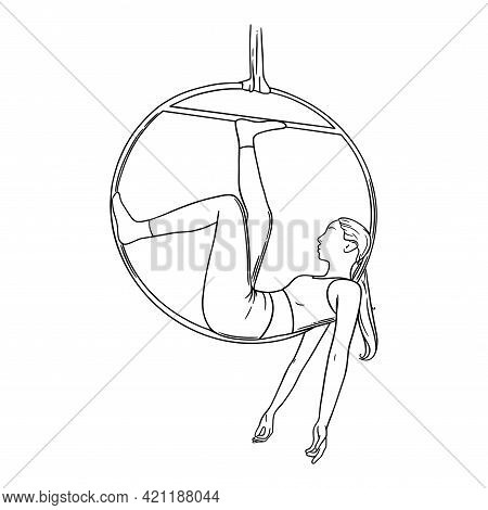 Circus Aerialist In The Hoop. Aerial Woman Acrobat In The Ring. Sketch Vector Illustration
