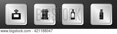 Set Perfume, Antiperspirant Deodorant Roll, Spray Can For Hairspray And Icon. Silver Square Button.