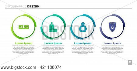 Set Acne, Cream Or Lotion Cosmetic Tube, Perfume And Epilator. Business Infographic Template. Vector