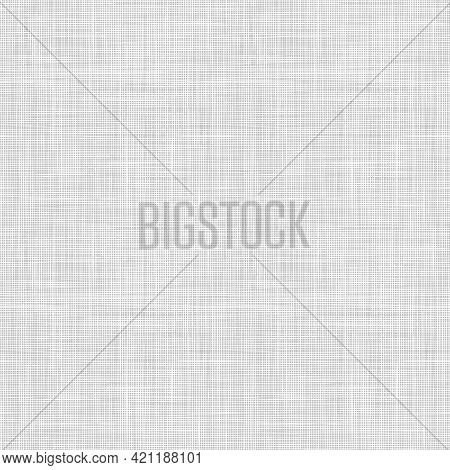 Vector Woven Fabric Texture. Seamless Pattern Of Textile. Repeating Linen Texture In Light Gray Colo