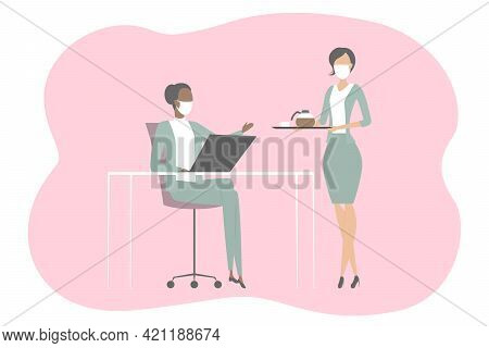 Secretary In Mask Bring Coffee To Boss. Vector Illustration.