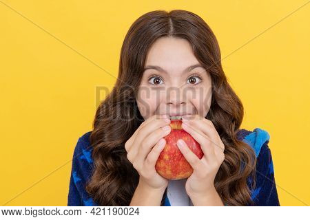 Happy Toothy Child Girl Bite Fresh Apple In Cozy Bathrobe, Childrens Stomatology