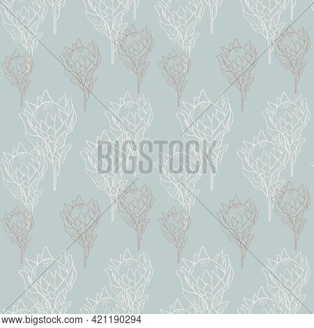 Flower Pattern With Tropical King Proteas In Blossom On Blue Background. Hand Drawn Line Style Vecto