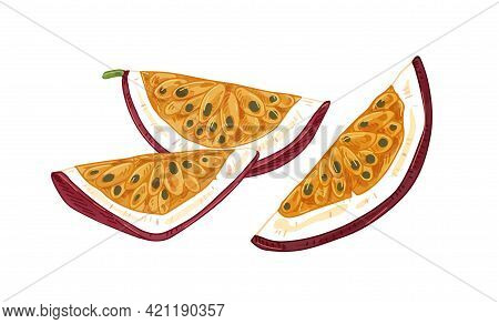 Tropical Passion Fruit Pieces With Juicy Flesh And Seeds. Cut Quarters Of Passionfruit. Maracuja Sli