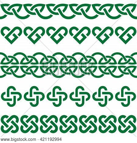 Irish Celtic Vector Green Knots And Braids - Seamless Patterns Collection, Border And Frame Design,