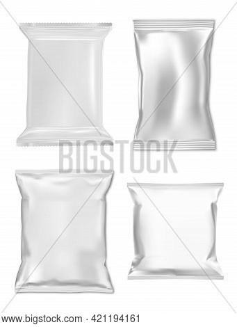 Snack Bag Mockup. Foil Sachet, Zipper Pouch Sample. Cosmetic Pilow Wrap, 3d Vector Packet, Silver Fo