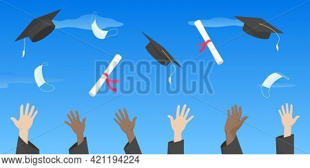 Students Throw Mortarboards, Diplomas And Masks Into Air. Graduation Ceremony 2021. Vector Illustrat