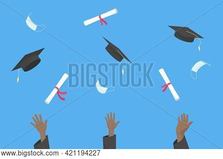 African Students Throw Mortarboards, Diplomas And Medical Masks Into Air. Graduation Ceremony 2021.