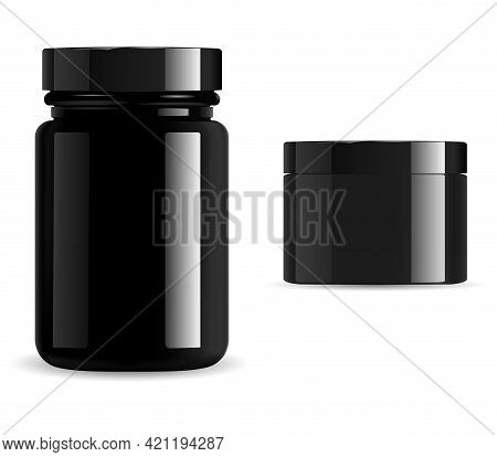 Black Cosmetic Package, Vitamin Jar Mockup Set. Supplement Packaging Container, Gloss Glass Or Plast