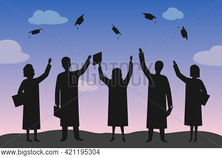 Graduate Students Throw Mortarboards Into Air. Vector Illustration.
