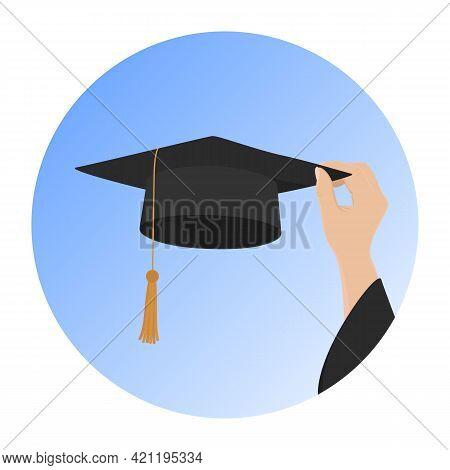 Higher Education Symbol. Hand Hold Mortarboard. Vector Illustration.