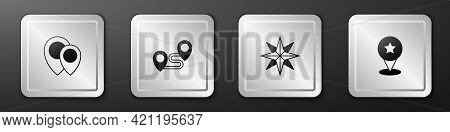 Set Location, Route Location, Wind Rose And Map Pointer With Star Icon. Silver Square Button. Vector