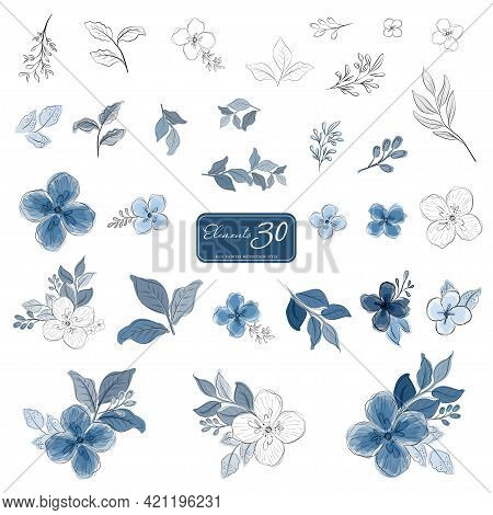 Set Of Blue Flowers And Leaves Watercolor Style Elements. Illustrations Hand-drawn Isolated On A Whi