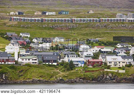 Feroe Islands Capital, Torshavn. Picturesque Colorful House. Streymoy South Area