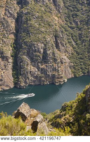 Ribeira Sacra. Sil River Canyon With Boat In Galicia, Spain
