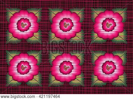 Mexican Floral Embroidery Border Seamless Pattern, Colorful Frame Native Poppy Flowers, Folk Fashion