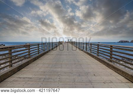 Scorpion Anchorage pier at Santa Cruz Island in Channel Islands National Park near Los Angeles and Ventura, California, USA.
