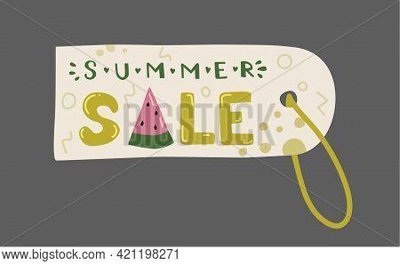 Summer Sale Label. Enjoy Summer Tag. Labels Summer Time And Holiday. Tags Promotion. Doodle Illustra