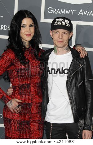 LOS ANGELES - FEB 10:  Kat Von D, Husband arrive at the 55th Annual Grammy Awards at the Staples Center on February 10, 2013 in Los Angeles, CA