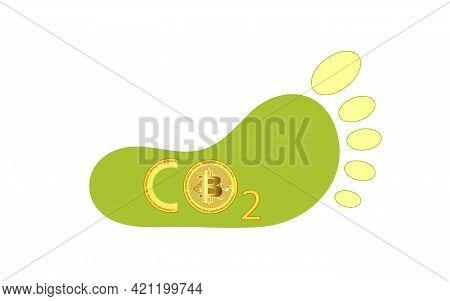 Bitcoin Carbon Footprint Concept. Bitcoin Is Harmful To Nature. Bitcoin's Carbon Footprint. The Impa