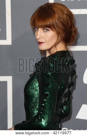 LOS ANGELES - FEB 10:  Florence Welch arrives at the 55th Annual Grammy Awards at the Staples Center on February 10, 2013 in Los Angeles, CA