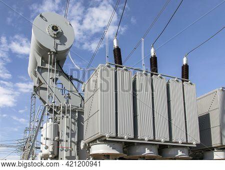 Powerful Power Transformer For Industrial High Voltage Substation. Energy Enterprise.