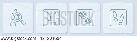 Set Line Magnifying Glass With Footsteps, Human Footprints Shoes, And . White Square Button. Vector