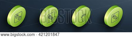 Set Isometric Line Paw Print, Human Footprints Shoes, Bear Paw And Icon. Vector