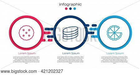 Set Line Cookie Or Biscuit, Brownie Chocolate Cake And Homemade Pie. Business Infographic Template.