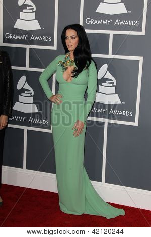 LOS ANGELES - FEB 10:  Katy Perry arrives at the 55th Annual Grammy Awards at the Staples Center on February 10, 2013 in Los Angeles, CA