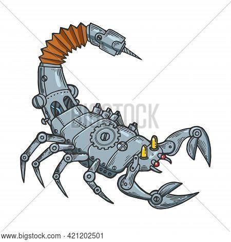 Mechanical Scorpio Animal Line Art Color Sketch Engraving Vector Illustration. T-shirt Apparel Print