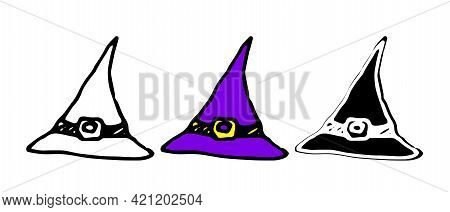 Cartoon Doodle Witch Hat. Symbol, Logo Illustration.vector Witch Hat With A Sharp Tip, Purple Color.