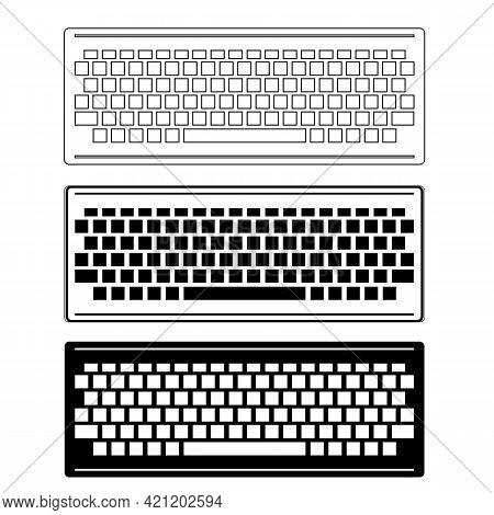 Computer Keyboard Icon Set Isolated On White Background. Pc Buttons. Part Of Desktop