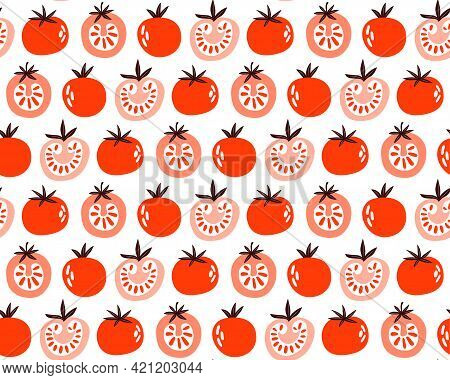Seamless Pattern Of Red And Pink Tomatoes. Slice, Half, Whole Tomato On White Background. Healthy Ve