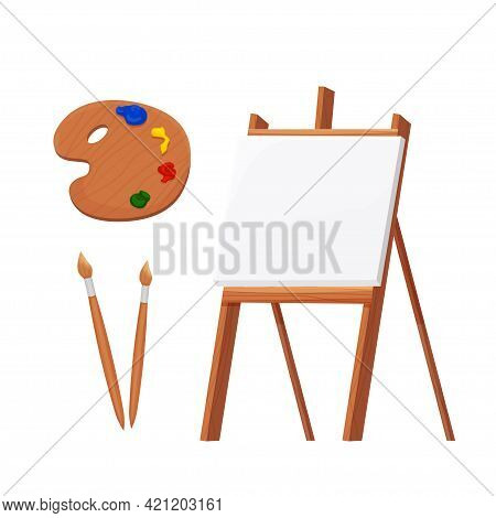 Set Wooden Easel Empty Blank Paper Mock Up With Palette And Brushes In Cartoon Style Isolated On Vec