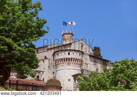 Beautiful View Of The Historic Medieval Castle In Brescia Town. Lombardy, Italy