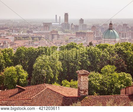 View From The Castle To The Dome Of The Cathedral And Downtown Of Brescia City. Lombardy, Italy (vin