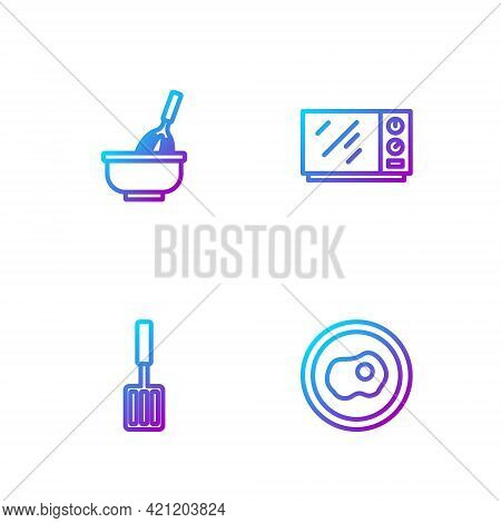 Set Line Scrambled Eggs, Barbecue Spatula, Kitchen Whisk With Bowl And Microwave Oven. Gradient Colo