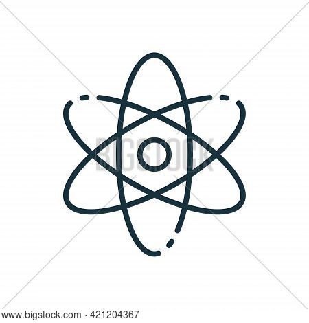 Atom Line Icon. Scientific Atom Symbol. Sign Of Education And Science. Structure Of Nucleus Of Atom.