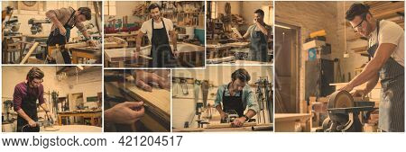Composite of seven image of male carpenter working in workshop. independent business and craftsmanship concept digitally generated image.