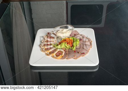 Salted Pork Lard With Bread, Onion And Sauce