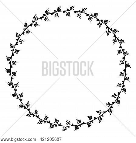Vintage Doodle Berries Round Frame, Great Design For Any Purposes. Vector Wreath Of Sprouts With Rou