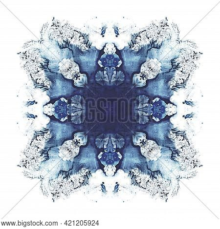 Abstract Blue Symmetric Watercolor Painting. Abstraction Background.
